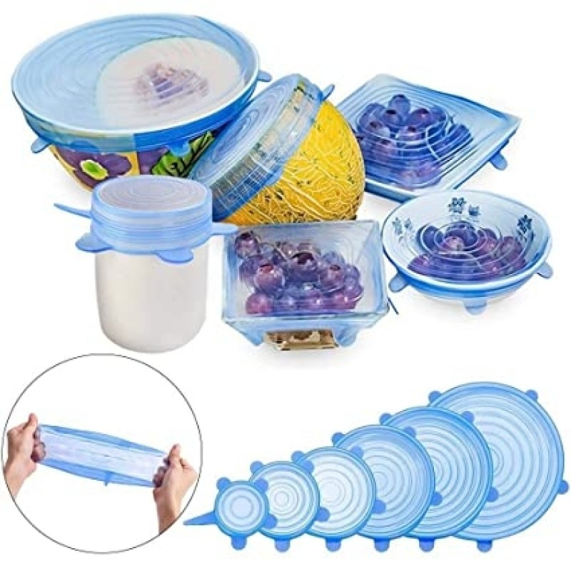 Kitchen Reusable Silicone Food Storage Cover 6 Pcs Set