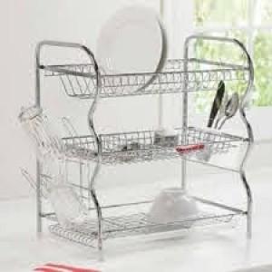 3 Layer Kitchen Dish Rack - Silver