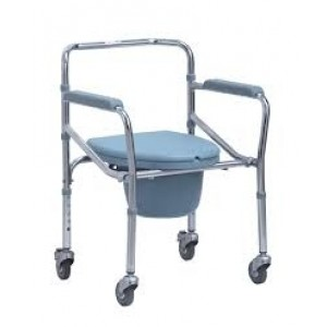 Height Adjustable Folding Commode Chair with Wheels