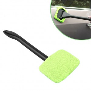 2 Windshield Clean Car Glass Cleaner Wiper Handle Wand Microfiber Cloth Auto New
