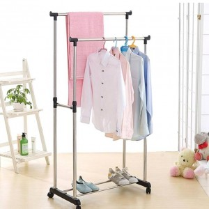 Folding Double Clothes and Shoe Rack